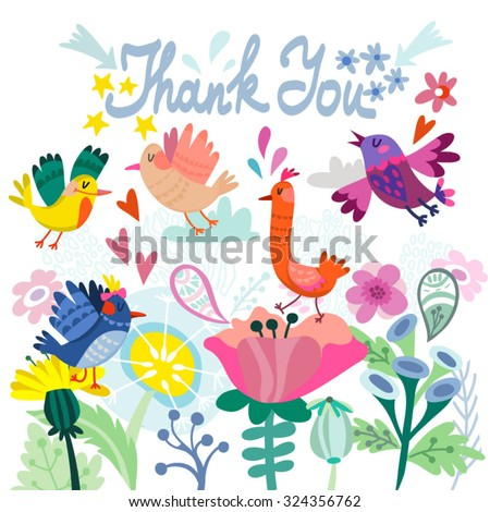 "Lovely illustration of flowers and birds and hand drawn letters ""thank you"", cute and stylish template for your design.  - stock vector"