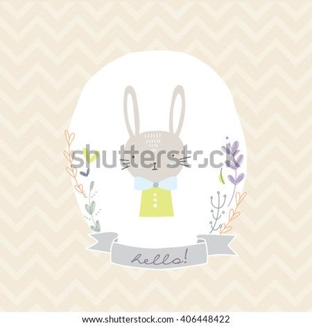 Lovely illustration with cute rabbit and floral elements for boys