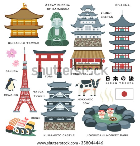 lovely Japan travel elements collection - Japan Travel in Japanese words - stock vector