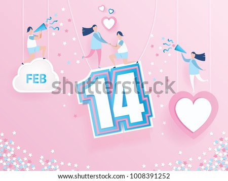 lovely joyful couple on pink background whit text 14 February design for Valentine's day festival and pink heart on abstract love background. Vector illustration.