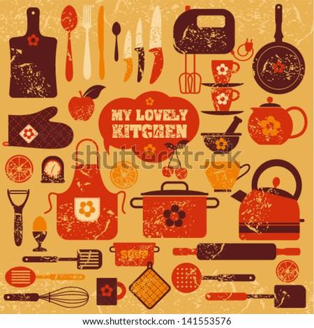 Lovely kitchen background. - stock vector