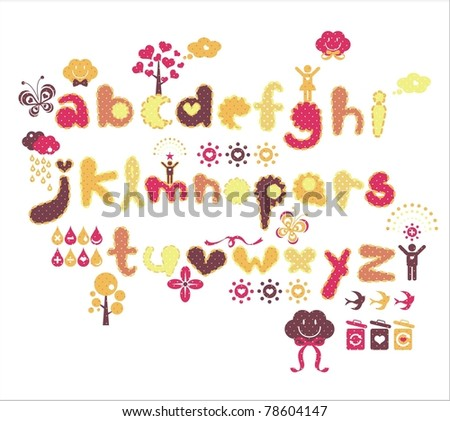 lovely letter set from A to Z for scrapbook, sticker & wrapper - stock vector