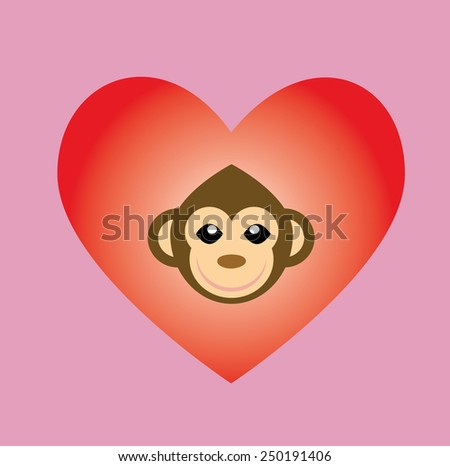 lovely monkey in the red heart icon ,logo - stock vector