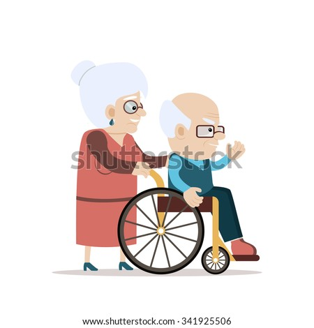 Lovely old couple - senior woman pushing wheelchair with disabled old bald man waving his hand. Flat vector characters on isolated background. Concept for growing old together or happy retiring. - stock vector