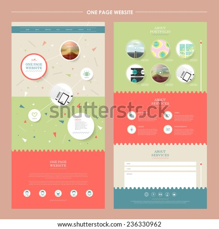 lovely one page website template in flat design - stock vector