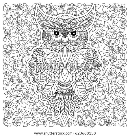 Lovely Owl Coloring Page Design Exquisite Stock Vector 620688158