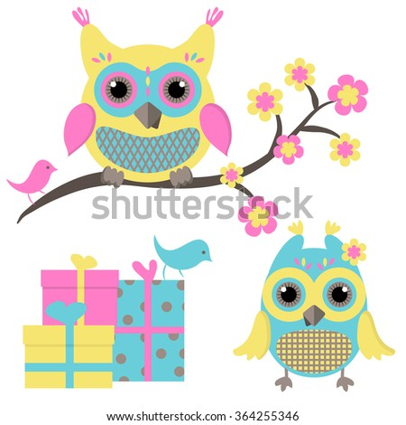 Lovely owls and gifts - stock vector