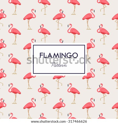 Lovely pink flamingo vector flat seamless pattern in bright beige and pink color scheme. Ideal for wrapping paper printables, website background, wallpaper and fabric design. Artwork on separate layer - stock vector