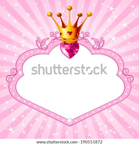 Lovely princess pink frame. Perfect for beautiful girls - stock vector