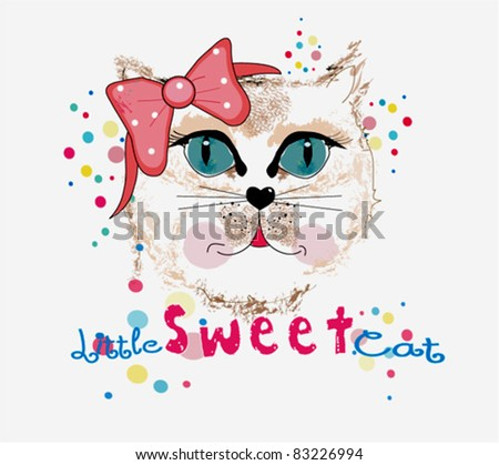 Lovely Print Design With cat - stock vector