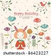 Lovely Rabbit Girl in the Flower Garden. Happy Holiday Card Design. - stock photo