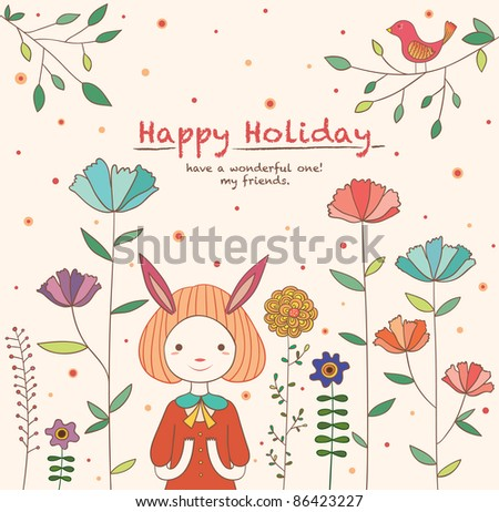 Lovely Rabbit Girl in the Flower Garden. Happy Holiday Card Design. - stock vector