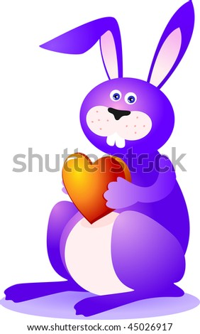 Family modern easter bunnies stock vector 129985643 shutterstock lovely rabbit that offers the gift of a red heart vector negle Images