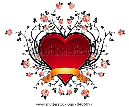 lovely red heart with many roses, vector illustration