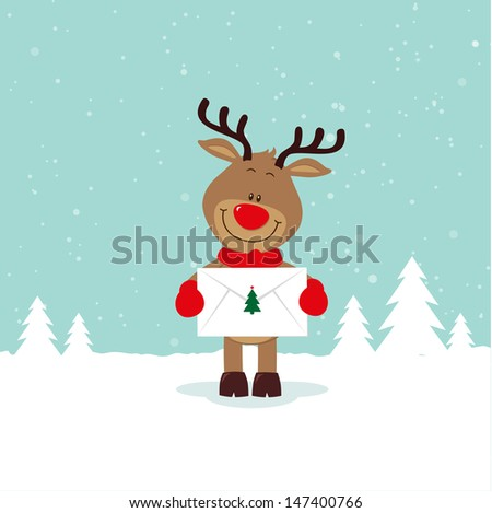 Lovely reindeer with love letter - stock vector