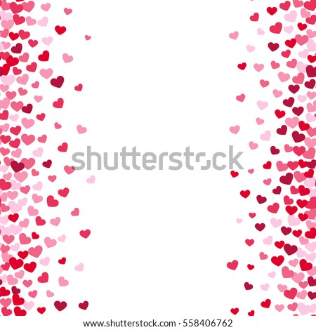 Lovely Romance Valentine Vector White Backgrouns With Pink And Red Heart  Borders. Valentines Day Card