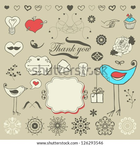 Lovely romantic set for Your design - stock vector