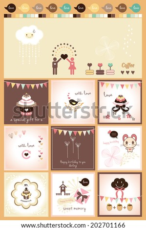 lovely scrapbook design - stock vector