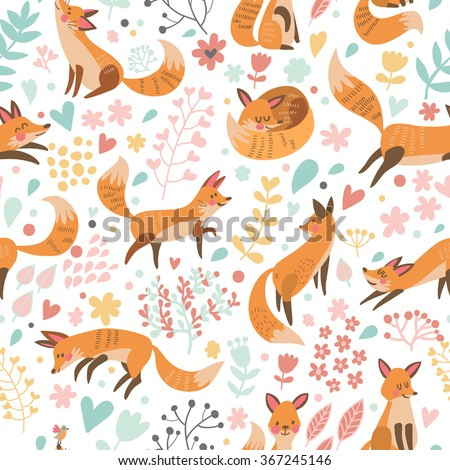 Lovely seamless pattern with cute foxes and flowers. Awesome background in bright colors in vector - stock vector
