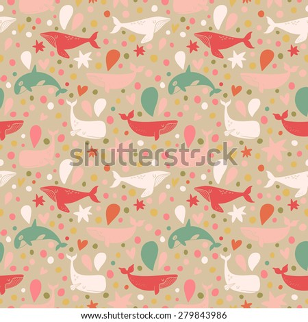 Lovely seamless pattern with cute whales in vintage colors. Sweet underwater concept background in vector - stock vector