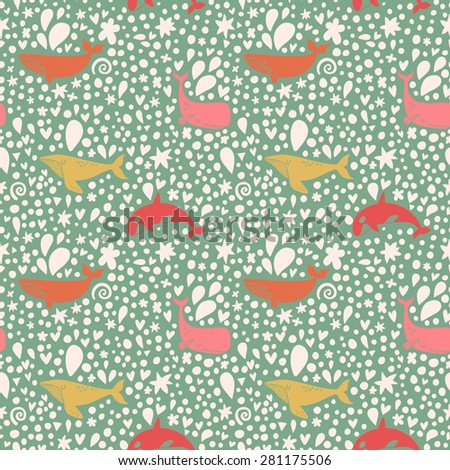 Lovely seamless pattern with stylish whales in bright colors. Sweet underwater concept background in vector - stock vector