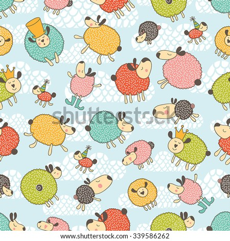 Lovely sleepy sheep. Seamless pattern can be used for wallpaper, pattern fills, web page backgrounds, surface textures. - stock vector