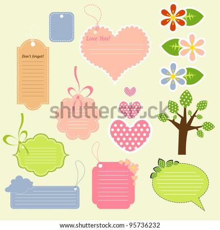 Lovely spring scrapbook elements for kids - stock vector