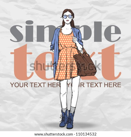 Lovely summer girl in sketch-style on a grunge background. Vector illustration - stock vector