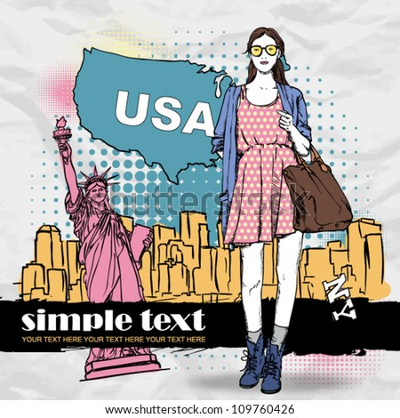 Lovely summer girl in sketch-style on a usa background. Vector illustration - stock vector