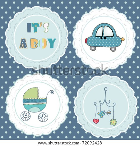 lovely tag set for baby boy - stock vector