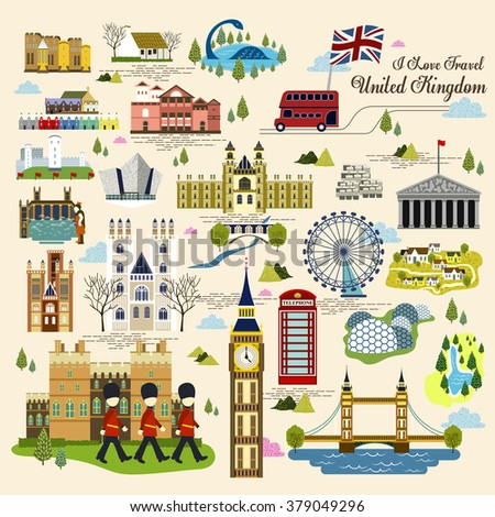 lovely United Kingdom impression collection in flat style - stock vector
