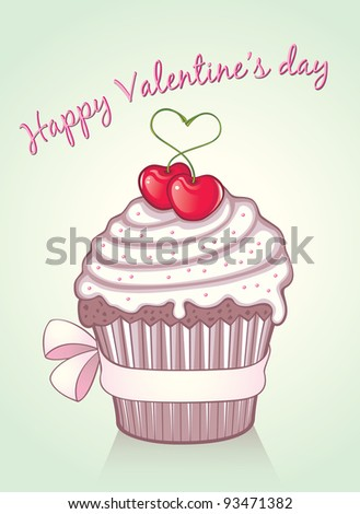 Lovely valentine cupcake with 2 sweet cherries and a pink silk bow