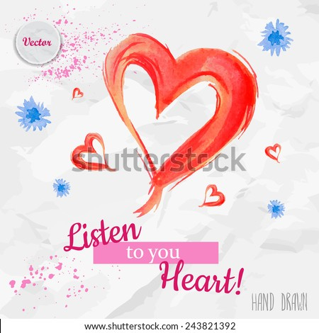 Lovely Valentines Day Card With Heart Flowers And Love Message Lettering Watercolor Vector