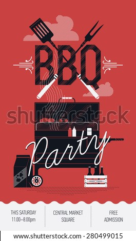 lovely vector barbecue party flyer design stock vector royalty free