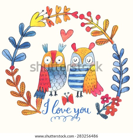 Lovely vector card with sweet owls, butterfly and wreath made of leafs and flowers in awesome colors. Stunning romantic card made in watercolor technique. Bright concept background with text in vector - stock vector