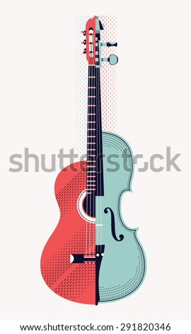 Lovely vector retro collage style decorative composition of string musical instruments classical acoustic guitar and violin. Ideal for music themed graphic and web design - stock vector
