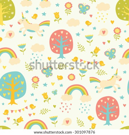 Lovely vector seamless pattern with cute unicorns, trees, hearts, birds, clouds, rainbows, butterflies and flowers in pastel colors. Seamless pattern can be used for wallpapers, web page backgrounds. - stock vector