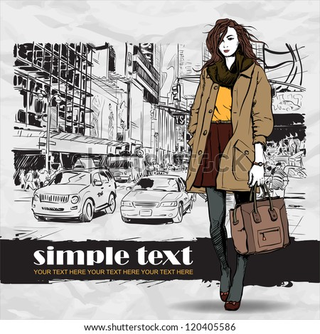 Lovely winter girl on a street background. Vector illustration - stock vector
