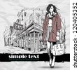 Lovely winter girl on a street cafe background. Vector illustration - stock vector