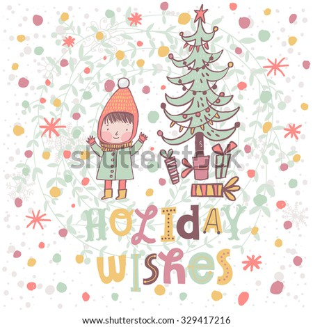 Lovely winter holidays card with a child near the fir tree with gifts in vector. Sweet Christmas and New Year concept background in cartoon style - stock vector