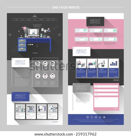 lovely workplace one page website design template in flat design  - stock vector