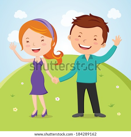 Lovely young couple waving hand. Vector illustration of lovely young couple waving hands. Happy day! - stock vector