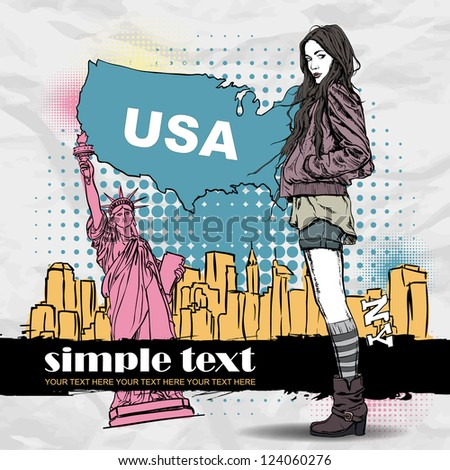 Lovely young girl in sketch-style on a usa background. Vector illustration - stock vector