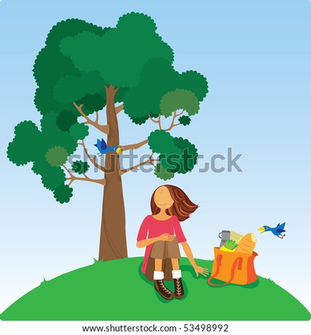 Lovely young woman at a picnic. - stock vector
