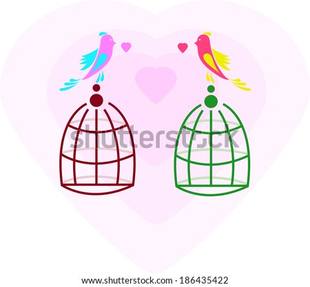 Lovers and free birds. Freedom and love. Card. Background. Vector illustration. Abstract pattern. Element. Icon - stock vector
