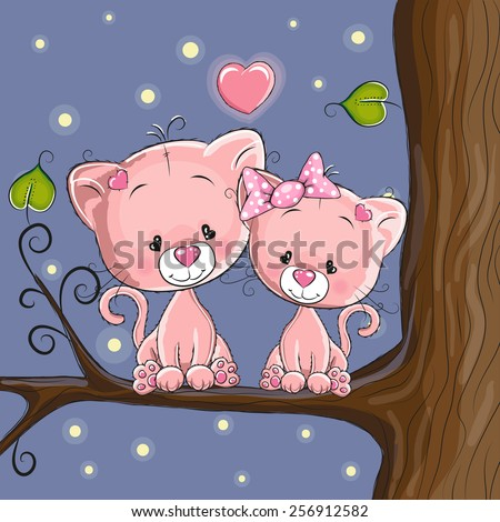 Lovers Cats on a background of rainbow - stock vector