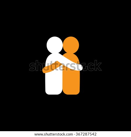 lovers hug each other in deep love & romantic mood - vector icon. This also represents reunion, sharing, love, emotions, human touch, friendship, embrace, support, care, kindness, empathy, compassion - stock vector