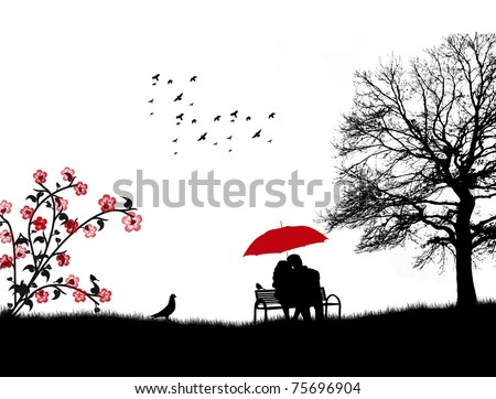 Lovers in a park on the bench under red umbrella, vector illustration - stock vector