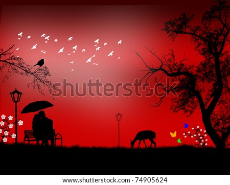 Lovers in a park under red sunset, vector illustration - stock vector