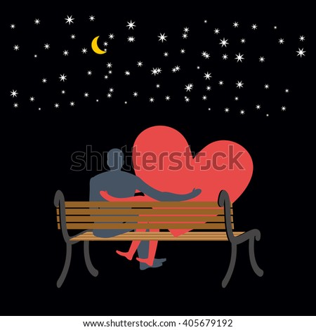 Lovers looking at stars. Date night. Man and love sitting on bench. Heart symbol of love. Moon and stars in night dark sky. Romantic illustration for valentines day